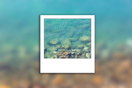 Sea is clean and have rocks on background blur and instant phorto