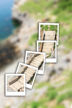 staircase stone on  instant photo and beach for peoplay walk.