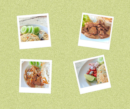 Thai food on instant photo have Pork with Garlic,fried rice process instant photo style