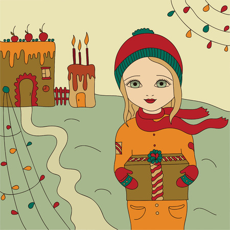 winter cherry: Christmas card  Girl holding a gift in hand on the background of a gingerbread house  The vintage Vector