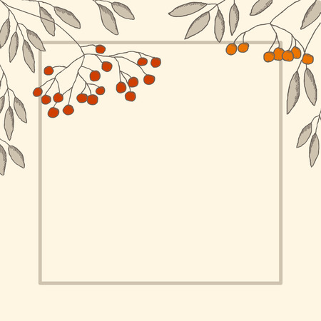 rowanberry: Decorative card with branch of rowan-berry and leaves