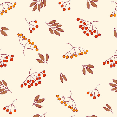 Seamless autumn pattern with red and orange berries and leaves.  Vector