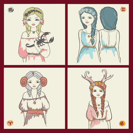 The signs of the zodiac, Scorpio, Gemini, Aries and Capricorn. Set of four characters.Vector art. Vector