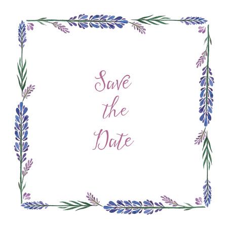 Aquarel, decoratieve elementen, vierkant kader van lavendel. Vector illustratie. Plaats voor uw tekst. Stock Illustratie