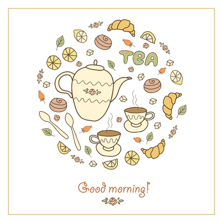 Tea, coffee and sweets doodle template patern invitation on on white  background. Greeting card.  Breakfast menu design. Banner with gift, cups, teapot and lemon. Vector