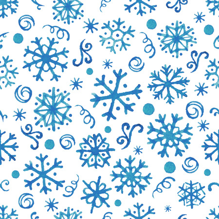 snow flake: Seamless pattern with hand drawn watercolor snowflakes. Winter traditional holiday wallpaper. Abstract background. Vector illustration.