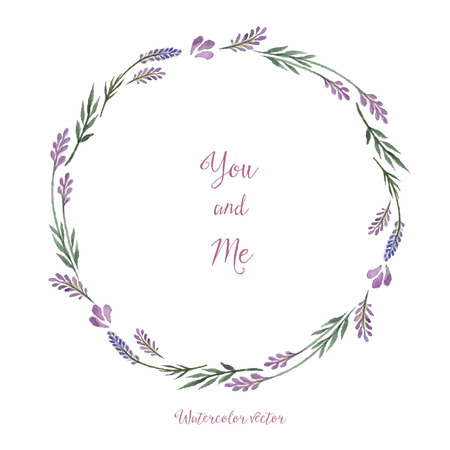 summer frame: Watercolor, decorative elements, round frame of lavender. Vector illustration.   Place for your text.
