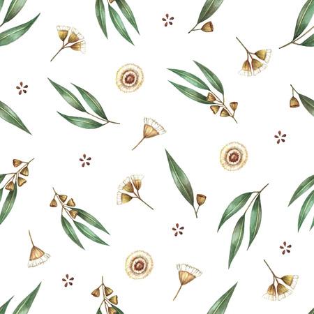 Watercolor seamless pattern branches of eucalyptus. Vector illustration. Vektorové ilustrace
