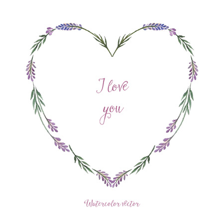 Watercolor, decorative elements, heart in the form of a framework of lavender. Vector illustration. Place for your text. Vettoriali