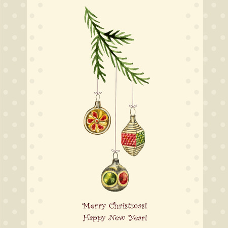 christmas watercolor: Christmas watercolor retro postcard, Christmas decorations hanging from the branches of spruce. Illustration