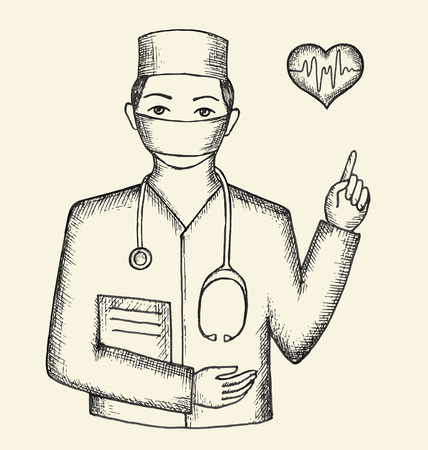 physiotherapist: Drawing from the hands of the doctor and hearts, vector illustration. Illustration