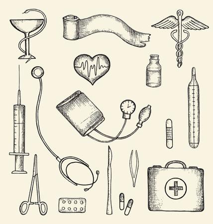 primeros auxilios: Conjunto de suministros médicos, dibujado a mano, ilustración vectorial.