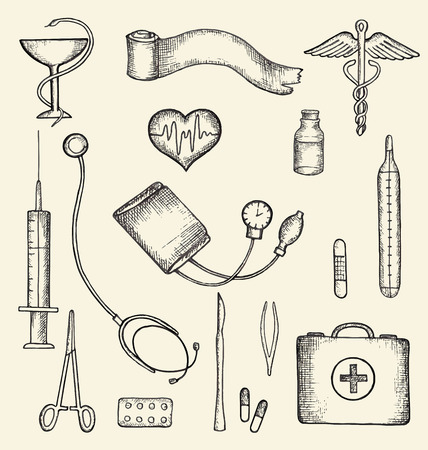 first aid kit: Set of medical supplies, hand-drawn, vector illustration.