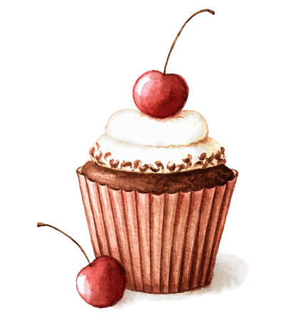 Hand painted watercolor cherry muffin. Vector illustration.