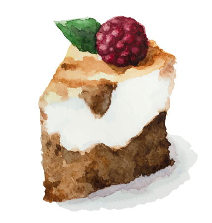 custard slices: Vector watercolor pie, piece of cake. It can be used for card, postcard, birthday card, menu