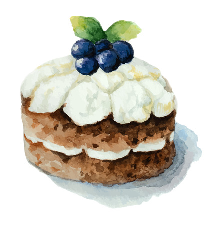 blueberry muffin: Hand painted watercolor сake with strawberries. Vector illustration.