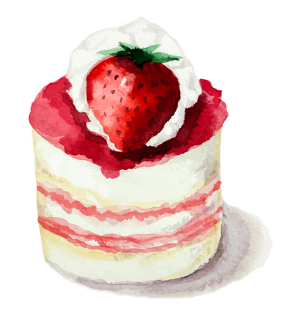 vanilla cupcake: Hand painted watercolor сake with strawberries. Vector illustration.