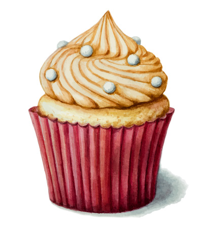 vanilla cake: Hand painted watercolor сake  with meringue. Vector illustration. Illustration