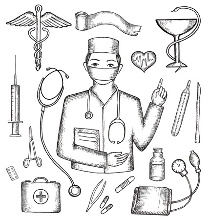 medical supplies: Set of medical supplies, hand-drawn, vector illustration.