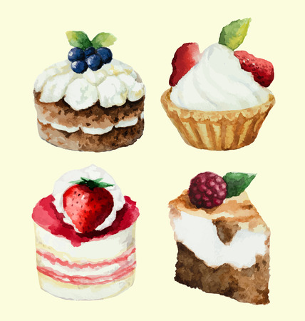 Hand painted watercolor set of sweet cupcakes.