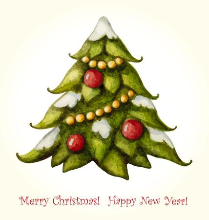 christmas watercolor: Christmas watercolor greeting card with Christmas tree.