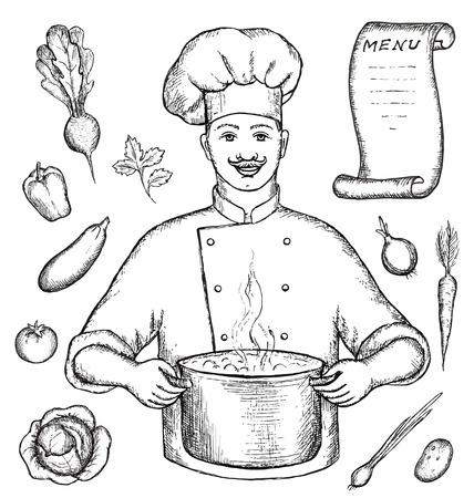 cocinero italiano: El chef principal es la celebraci�n de una olla de sopa de verduras. Dibujo a mano alzada Vectores