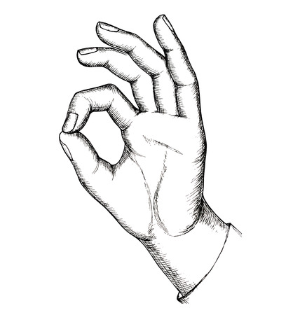 Sketch of hand gesture, isolated on white background
