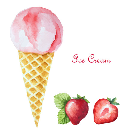 Strawberry ice cream in a waffle cone and orange wedges. Watercolor illustration, vector. Иллюстрация