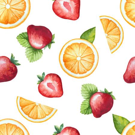 シームレス パターン, 水彩フルーツ、イチゴ、オレンジ。ベクトル イラスト。