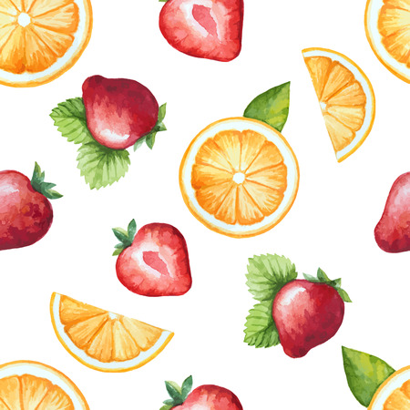 Seamless pattern, watercolor fruit, strawberry and orange. Vector illustration. Ilustração