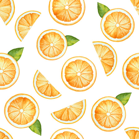 orange slice: Seamless pattern, watercolor fruit, orange. Vector illustration.