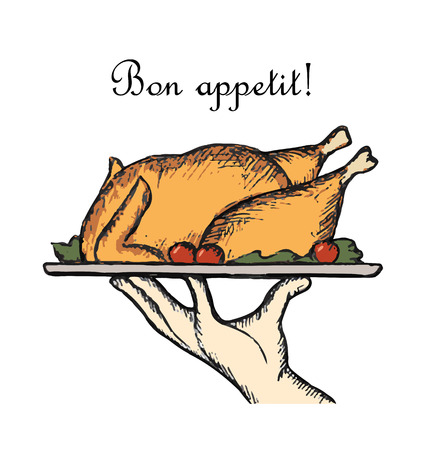 game meat: Bon Appetit delicious dish, element for a restaurant menu with the hand of a waiter or chef. The sketch tray with roasted duck.