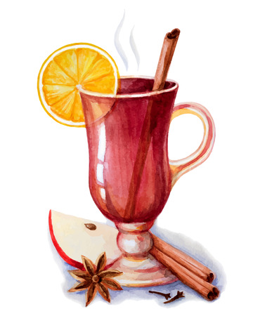 mulled: Mulled wine with spices..Hand drawn watercolor illustrations.