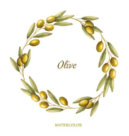 Acuarela corona de la rama de olivo. Dibujado a mano vector marco natural.