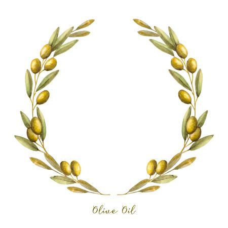 hoja de olivo: Acuarela corona de la rama de olivo. Dibujado a mano vector marco natural.
