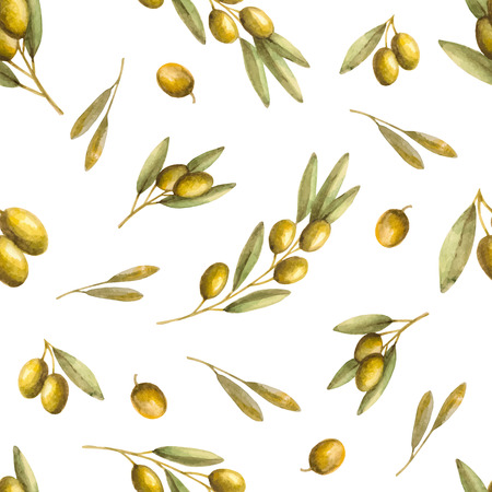 Watercolor branches of olives seamless pattern. Vector illustration. Vettoriali