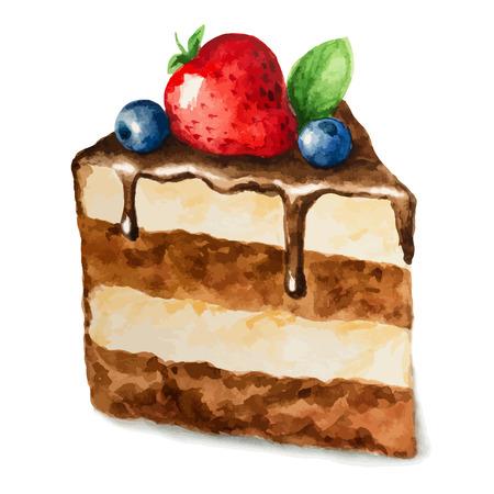 piece of cake: Vector acuarela pastel, pedazo de la torta. Puede ser utilizado para la tarjeta, postal, tarjeta de cumpleaños, menú Vectores