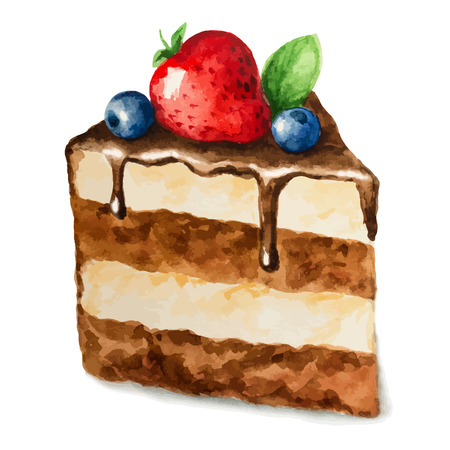 art piece: Vector watercolor pie, piece of cake. It can be used for card, postcard, birthday card, menu