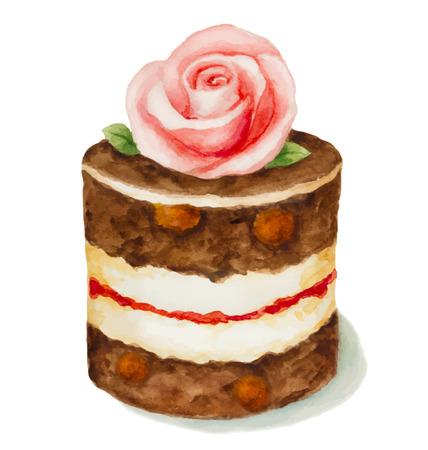 Chocolade cake versierd met rozen, geïsoleerd op een witte achtergrond. Aquarel vector illustratie
