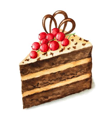 ベクトル水彩パイ、ケーキの一部です。カード、ポストカード、バースデー カード、メニューの使用できます。  イラスト・ベクター素材