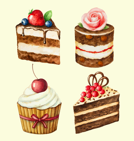 Hand painted watercolor set of sweet cupcakes. Vector illustration. Ilustração