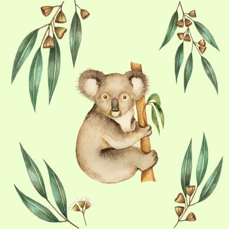 koala bear: Watercolor Koala and the eucalyptus branches. Vector illustration.