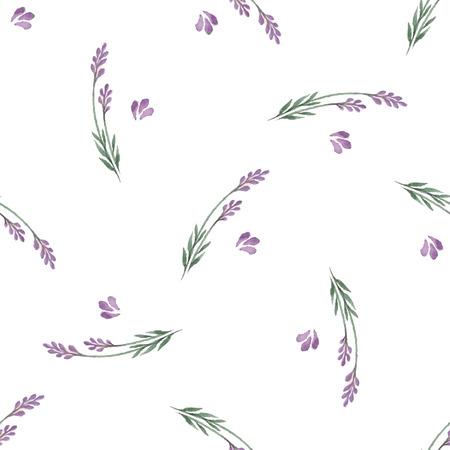 Naadloze: Lavender decoratief patroon. Naadloos patroon voor stof, papier en ander drukwerk en web projects.Watercolor achtergrond. Stock Illustratie