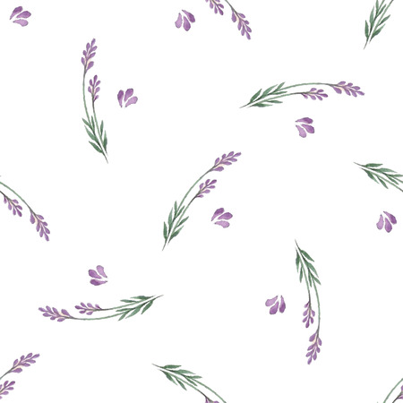 Lavender decorative pattern. Seamless pattern for fabric, paper and other printing and web projects.Watercolor background. 向量圖像