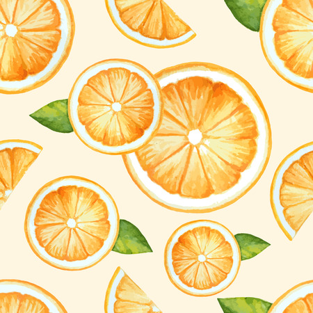 Orange, seamless, aquarelle fruits. Vector illustration.