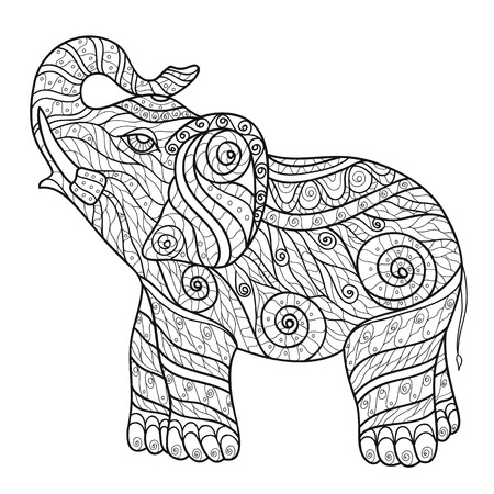indian elephant: Stylized elephant in a graphic style, vector illustration. Zentangle Illustration