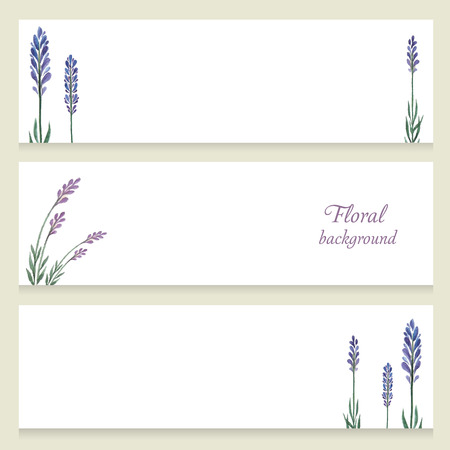 lavender: Watercolor floral vector banners painted by hand on a white background.