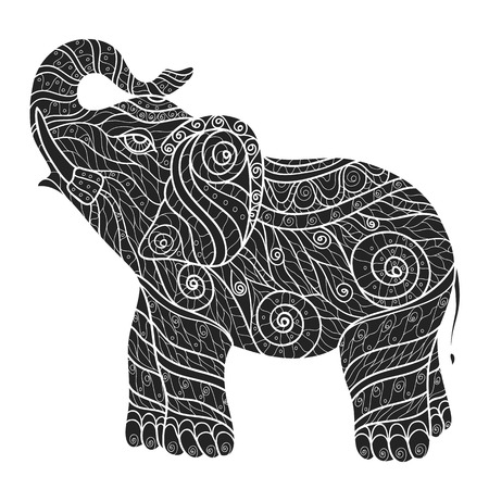 thailand fabrics: Stylized elephant in a graphic style,black and white, vector illustration. Zentangle