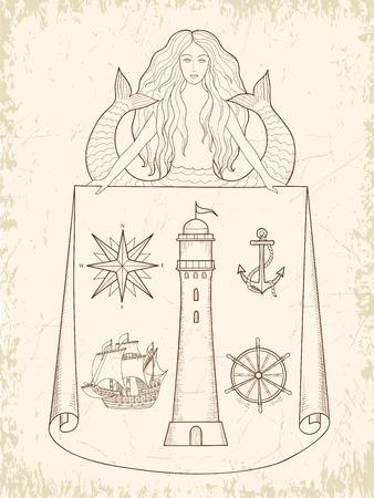 Nautical Design Elements - l set of hand drawn nautical design elements resembling medieval maritime maps