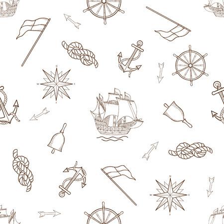 fish icon: Set of nautical design elements, seamless pattern. Illustration